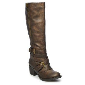 New sexy buckle boots brown rustic knee high heel